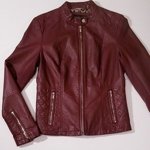 Black Rivet Moto Mock Collar Vegan Leather Jacket